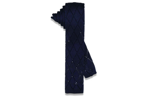 Blue Diamonds Knitted Skinny Tie