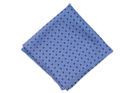 Blue Field Wool Pocket Square