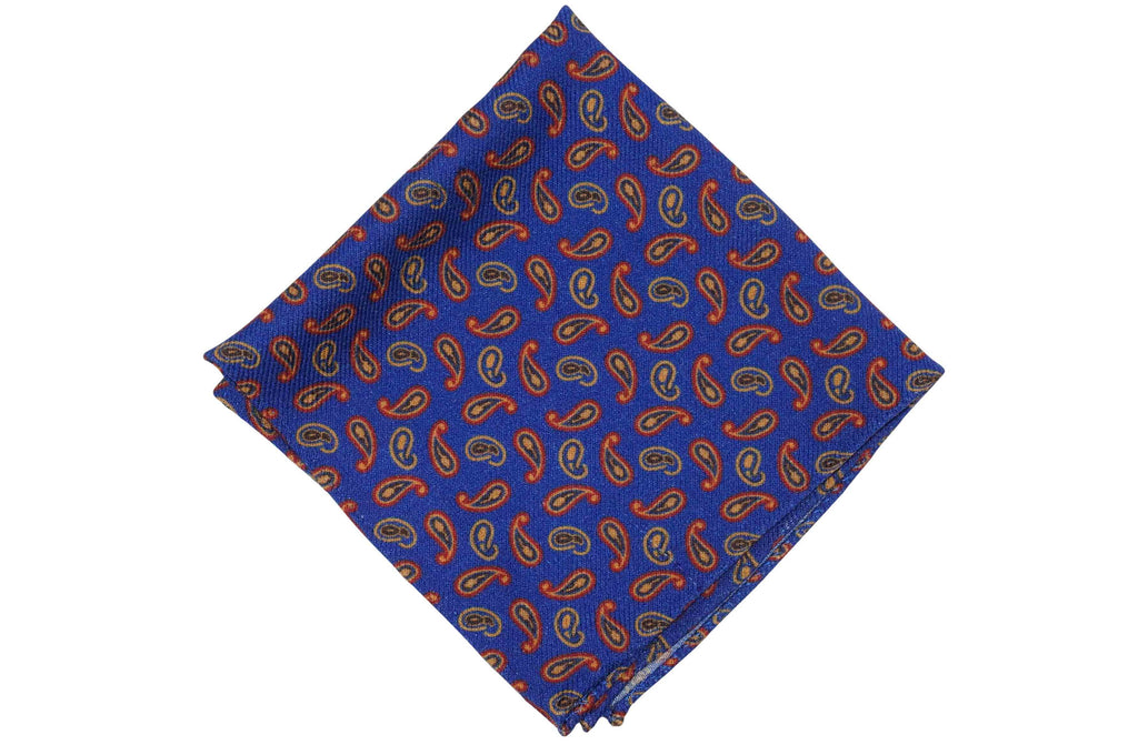 Blue Fire Paisley Wool Pocket Square