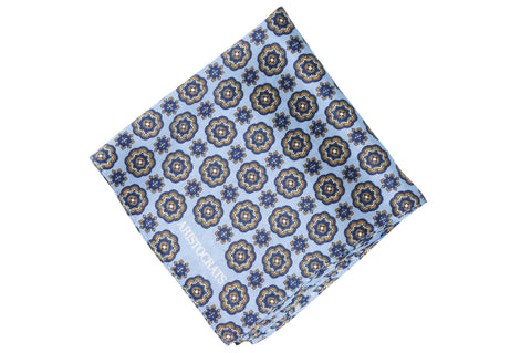Blue Flower Wheel Silk Pocket Square