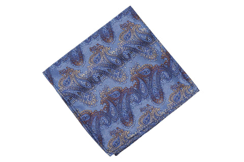 Blue Gold Silk Pocket Square