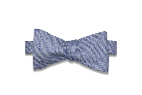 Blue Grained Silk Bow Tie (Self-Tie)