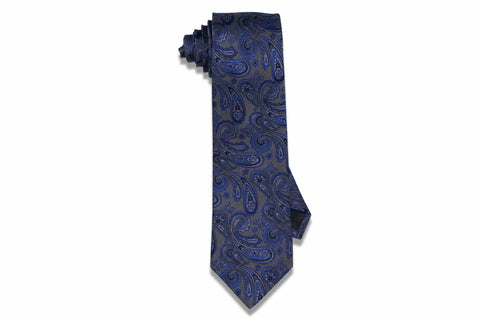 Blue Gray Paisley Silk Tie