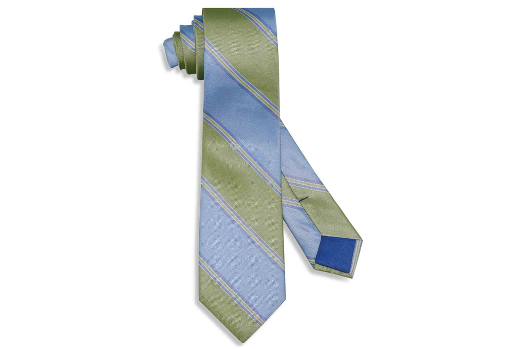 Blue Green Stripes Silk Tie