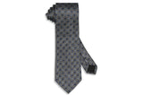 Blue Grey Flowers Silk Tie