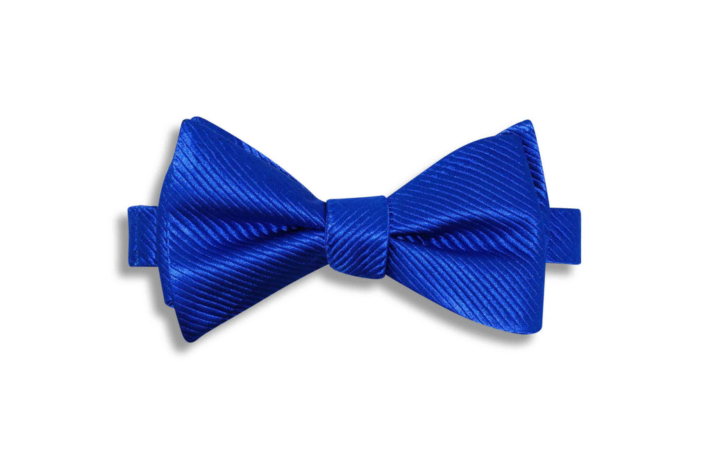 Blue Lined Textured Silk Bow Tie (self-tie)