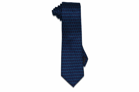 Blue Linked Silk Tie