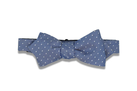 Blue Mini Dotted Silk Bow Tie (self-tie)