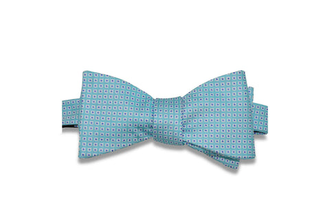 Blue Mini Squares Silk Bow Tie (Self-Tie)