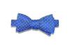 Blue Mini White Squares Silk Bow Tie (self-tie)