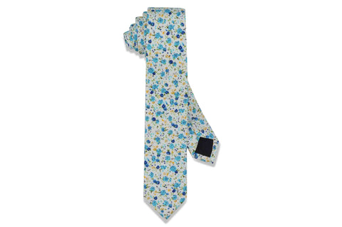 Blue Orange Floral Cotton Skinny Tie