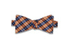 Blue Orange Plaid Silk Bow Tie (self-tie)