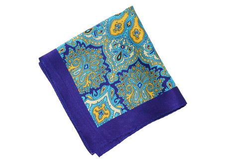 Blue Paisley Garden Silk Pocket Square
