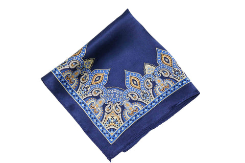Blue Pattern Border Silk Pocket Square