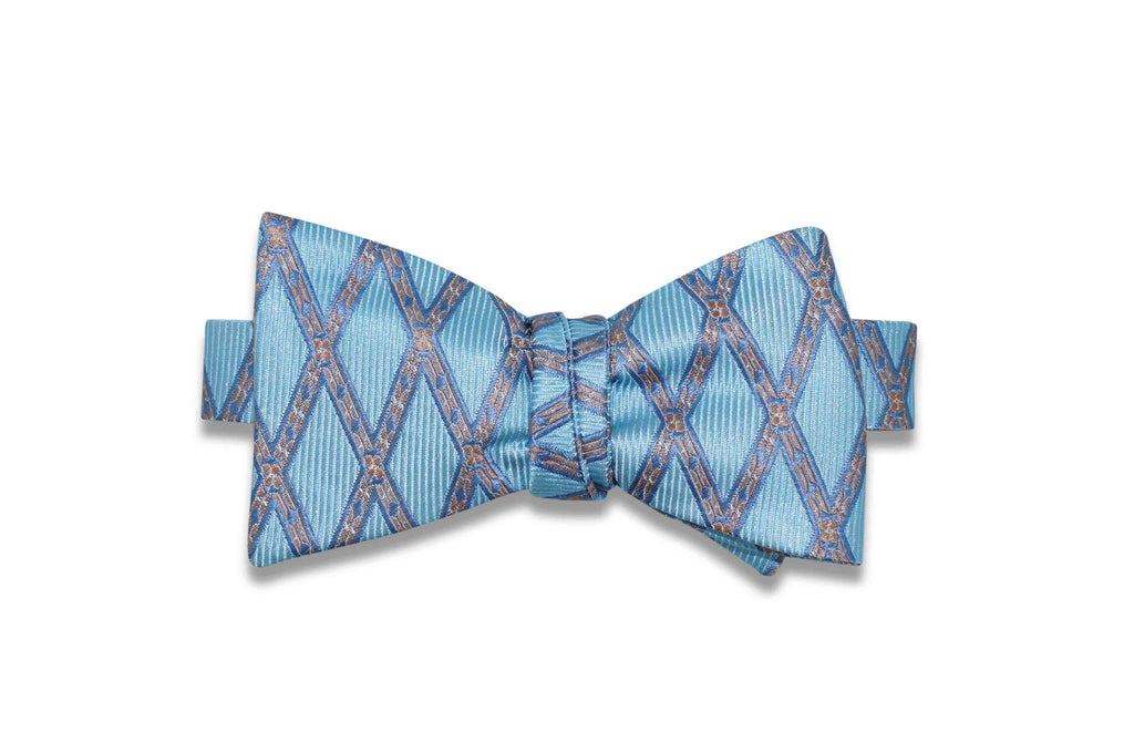 Blue Rope Band Silk Bow Tie (Self-Tie)
