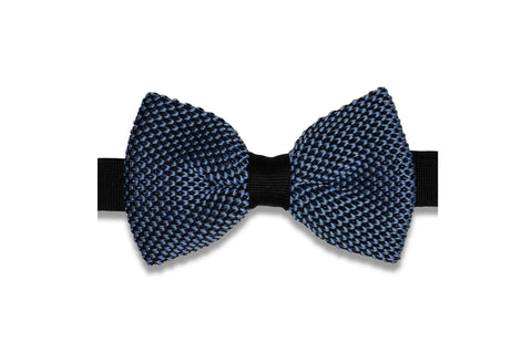 Blue Scales Knitted Bow Tie (pre-tied)