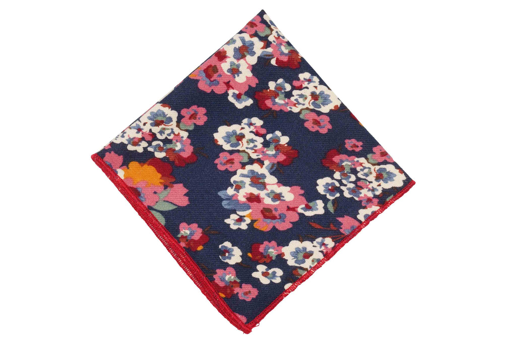 Blue Splattered Flowers Cotton Pocket Square