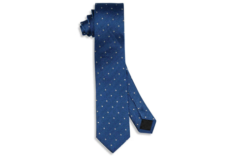 Blue Text Dot Silk Skinny Tie