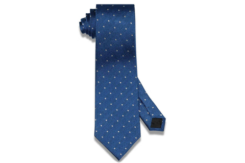 Blue Text Dot Silk Tie
