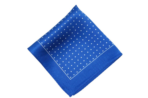 Blue White Dots Silk Pocket Square
