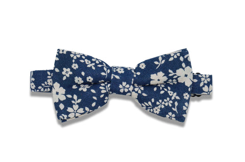 Blue White Flowers Cotton Bow Ties (pre-tied)