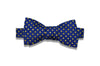Blue Yellow Polka Dots Silk Bow Tie (self-tie)