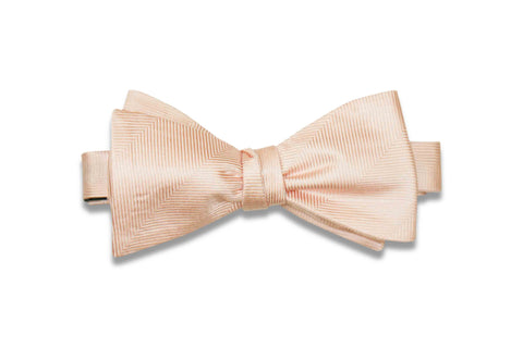 Blush Herringbone Silk Bow Tie (Self-Tie)