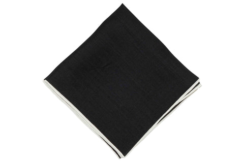 Border White Linen Pocket Square