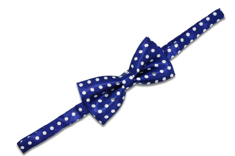 Blue White Polka Dot Bow Tie (Boys)
