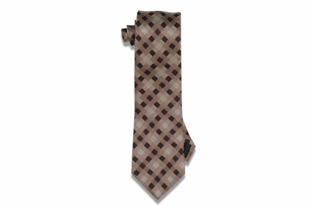 Brown Box Stripes Silk Tie