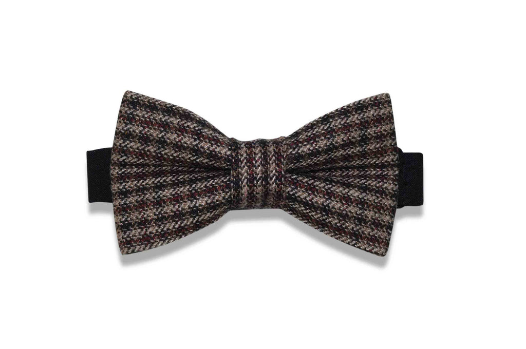 Brown Checks Wool Bow Tie (pre-tied)