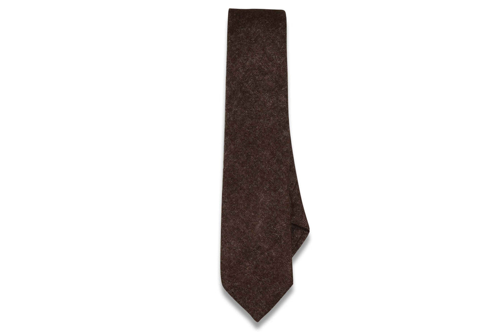 Brown White Cotton Skinny Tie