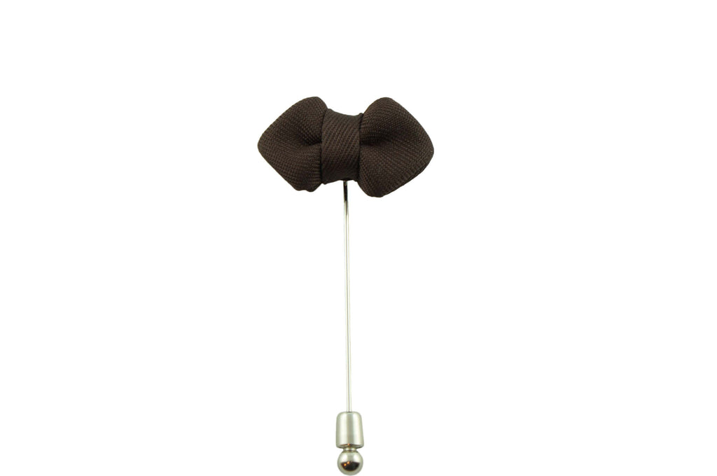 Brown Diamond Tip Lapel Bow