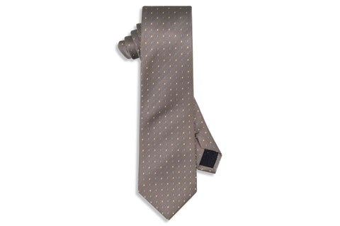 Brown Dotted Stripes Silk Tie