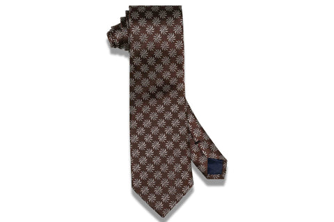 Brown Fan Flowers Silk Tie