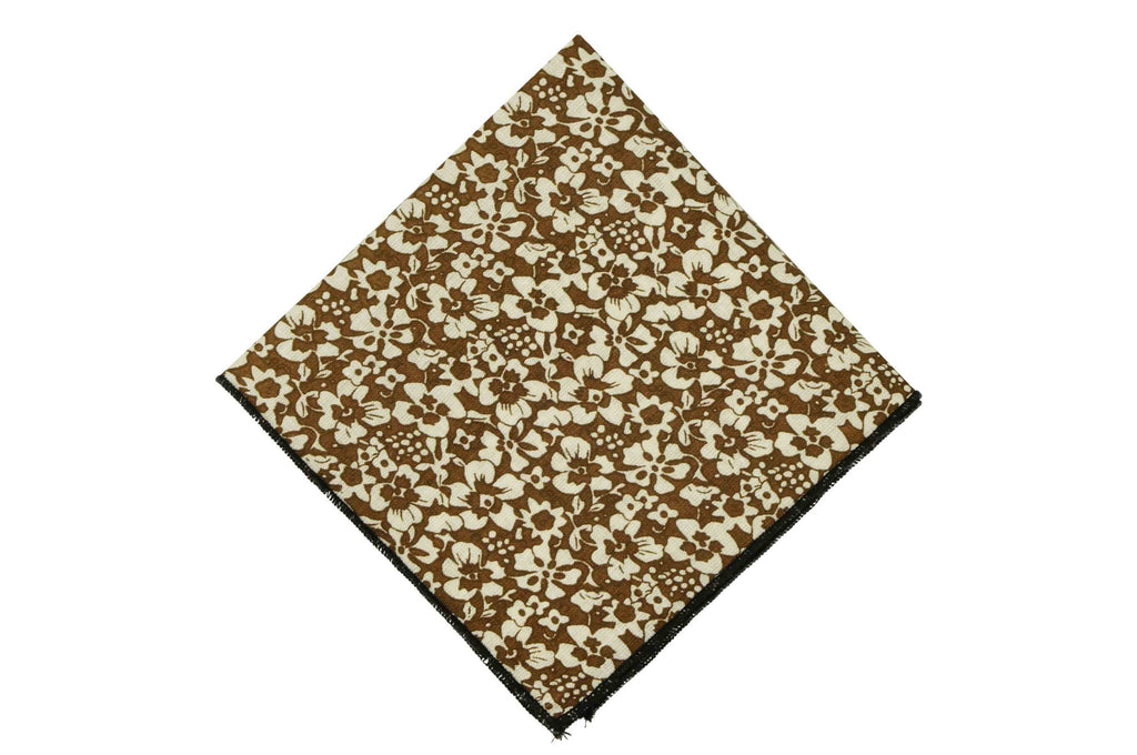 Brown Flowers Cotton Pocket Squares