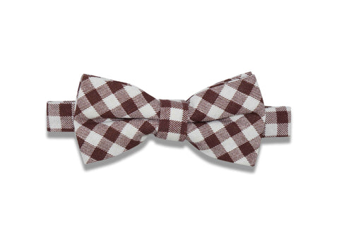 Brown Gingham Cotton Bow Tie (pre-tied)