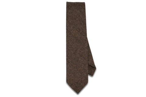 Brown Herringbone Wool Skinny Tie