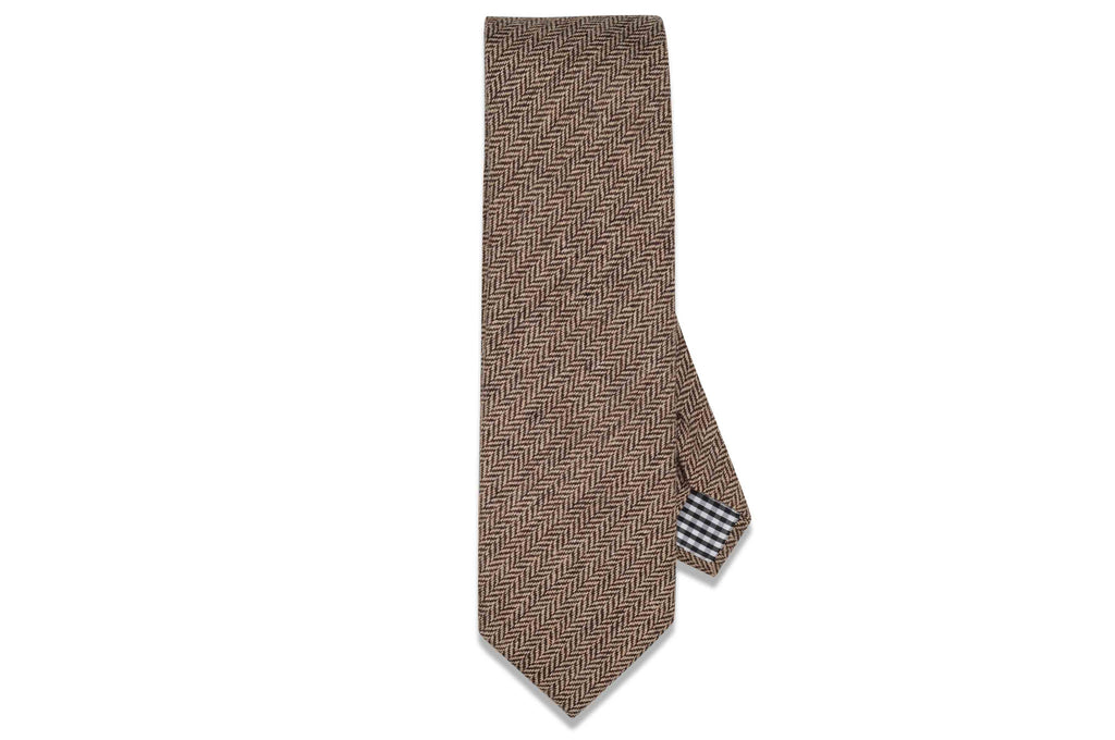 Brown Herringbone Wool Tie