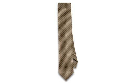 Brown Houndstooth Wool Skinny Tie