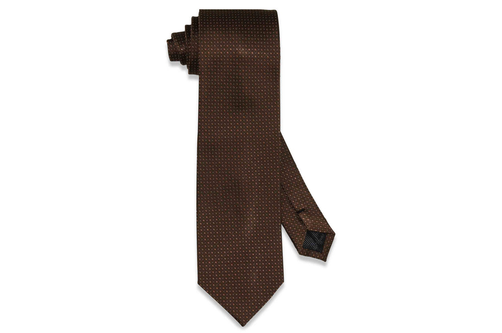 Brown Micro Dots Silk Tie