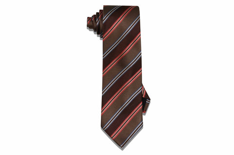Brown Orange Stripes Silk Tie