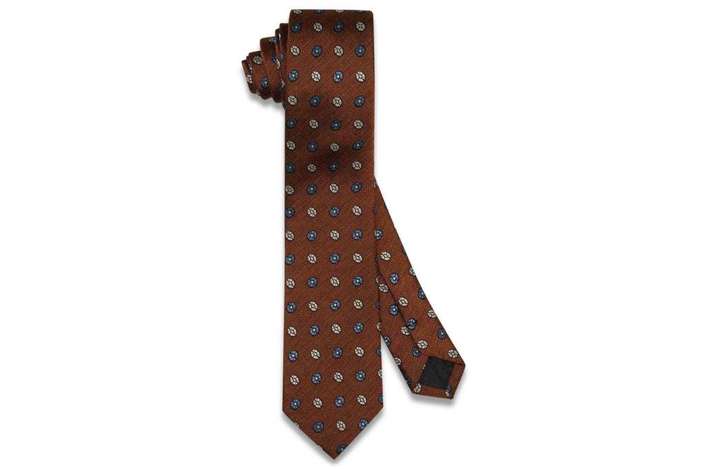 Brown Oval Flowers Silk Skinny Tie