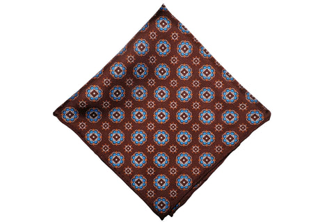 Brown Blues Silk Pocket Square