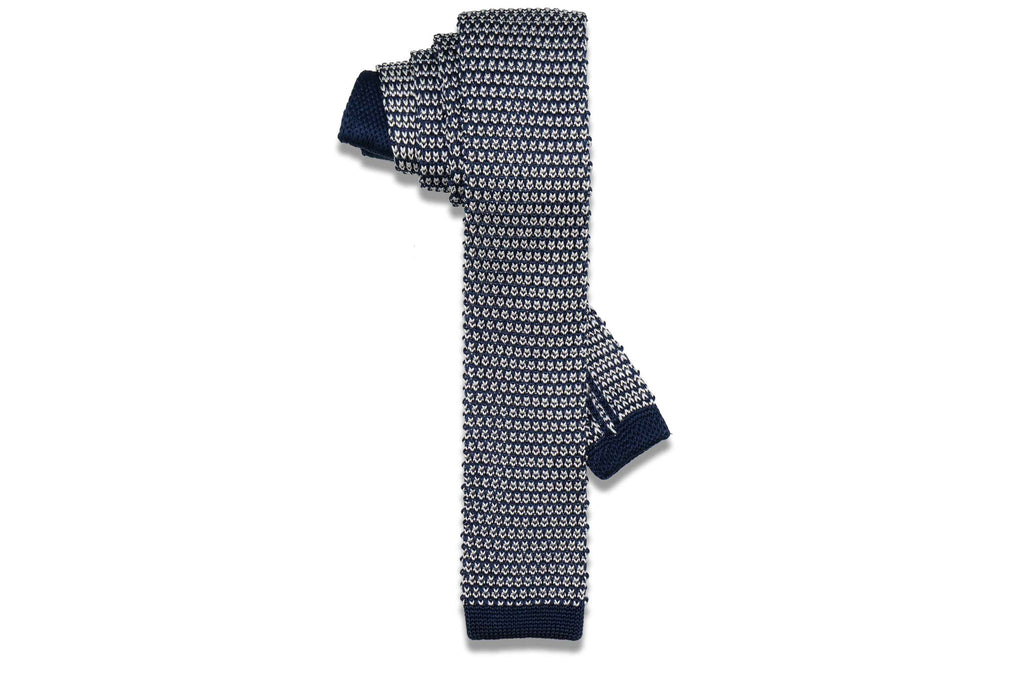 Bubble Blue Knitted Skinny Tie