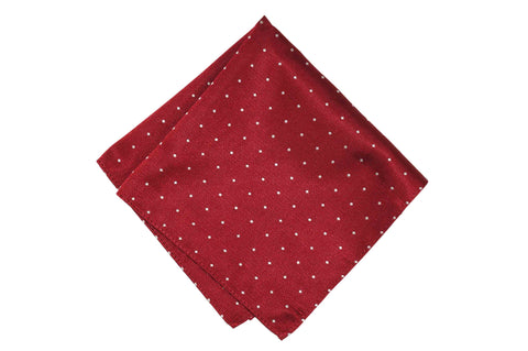 Burgundy Dotted Silk Pocket Square