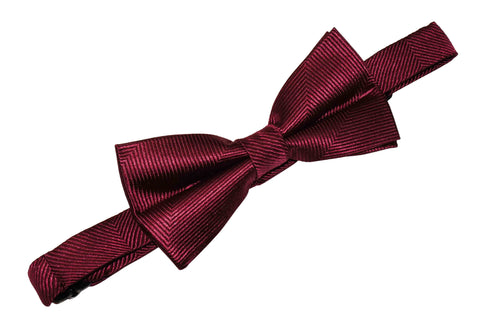 Burgundy Herringbone Silk Bow Tie (Boys)