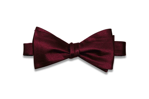 Burgundy Herringbone Silk Bow Tie (Self-Tie)