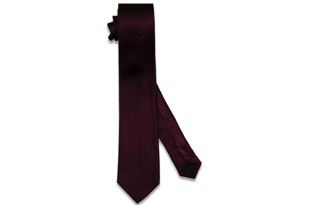 Wine Purple Herringbone Silk Skinny Tie