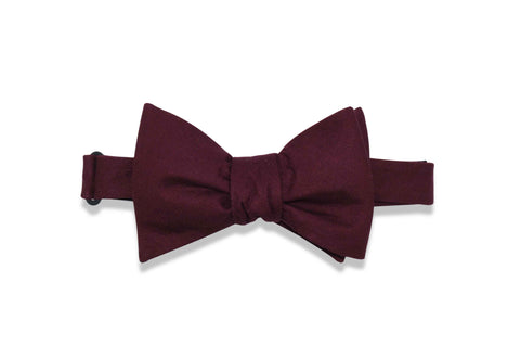 Burgundy Solid Cotton Bow Tie (self-tie)